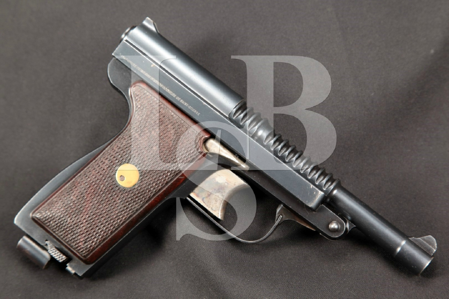 "RARE Manufrance Model Le Francais Type Armee Tip-Up, Blue 5"" SHARP Semi-Automatic Pistol, MFD 1931-1939 C&R"