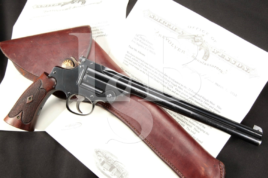 """RARE Smith & Wesson S&W 3rd Model Perfected, Olympic Chamber Single Shot, Blue 10"""" Top Break Target Pistol, Letter & Holster 1914 C&R"""