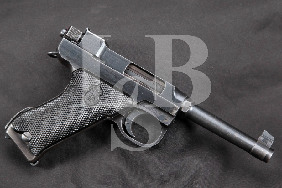 "RARE WWII Danish Marked Swedish Husqvarna Model M40 Lahti, Blue 4 3/4"" SA Semi-Automatic Pistol, MFD 1944 C&R"