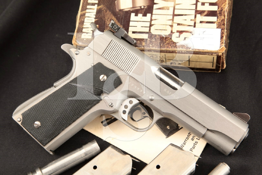 """Randall Firearms Model A211 Raider Compact 1911, Scarce Stainless Steel 4 1/2"""" SA Semi-Automatic Pistol, 3 Mags, Extra Bbl & Box"""