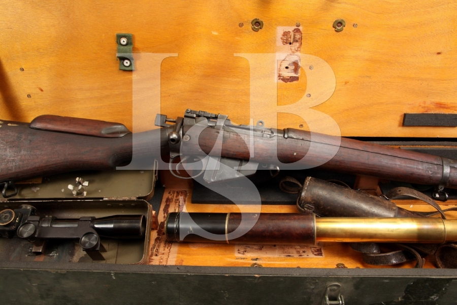 Rare Holland & Holland Enfield No. 4 Mk 1 .303 British Bolt Action Sniper Rifle, Scope, Case & shipping Crate