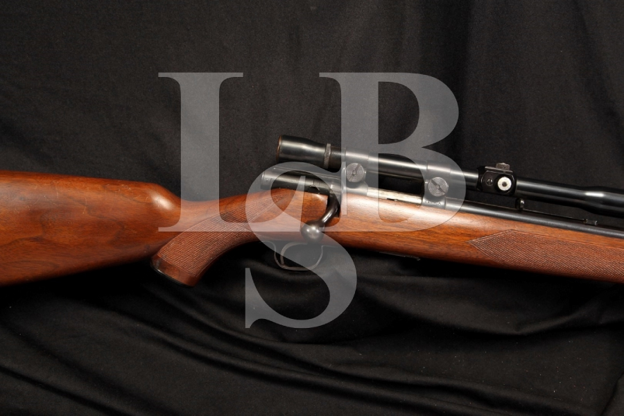 Rare Winchester Model 43 .218 Bee Bolt Action Varmint Hunting Rifle With Checkered Stocks & Scope
