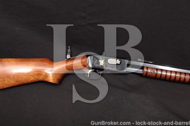 "Remington 12-C 12C Angelo Bee Engraved Blue & Gold 24"" Octagonal Pump/Slide Action Rifle MFD 1929 C&R"