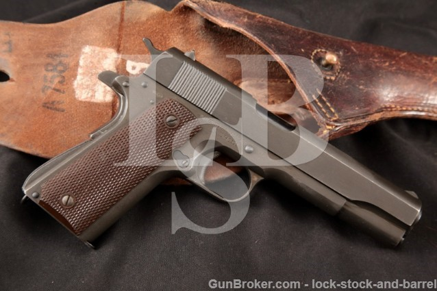 Remington Rand US Army 1911A1 .45 ACP Parkerized Semi-Automatic Pistol MFD Early 1944 & Holster C&R