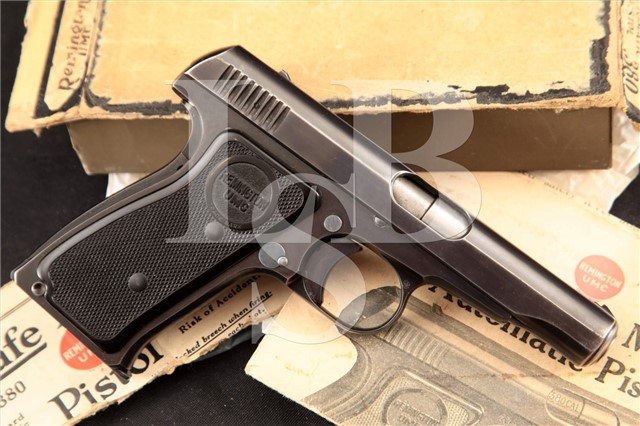 Remington-UMC Model 51 M51 & Box, MFD 1923 SHARP & RARE! Autoloading Pocket Pistol, C&R OK