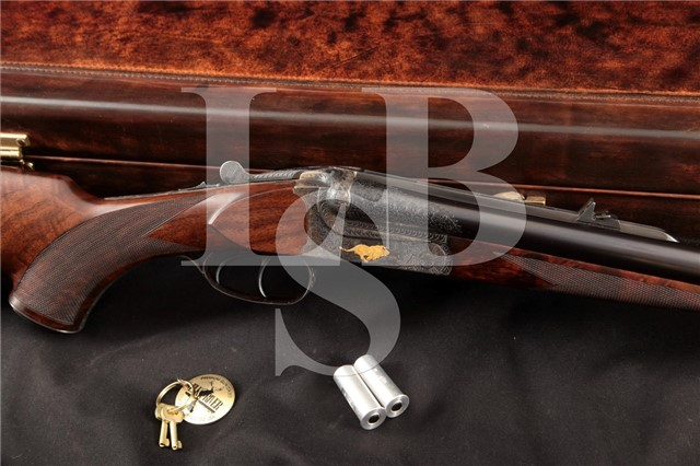 Rogue River Rifleworks Rigby-Style .470 Safari Gun Engraved Side by Side Double Rifle SxS & Hard Case