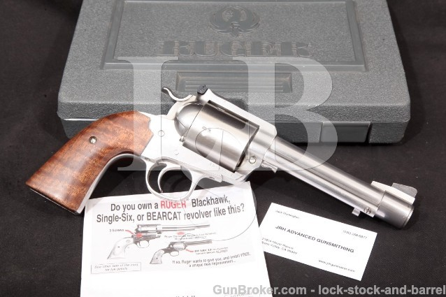 "Ruger .500 JRH Custom New Model Blackhawk Bisley, Stainless 5.5"" Single Action 5-Shot Revolver & Box"