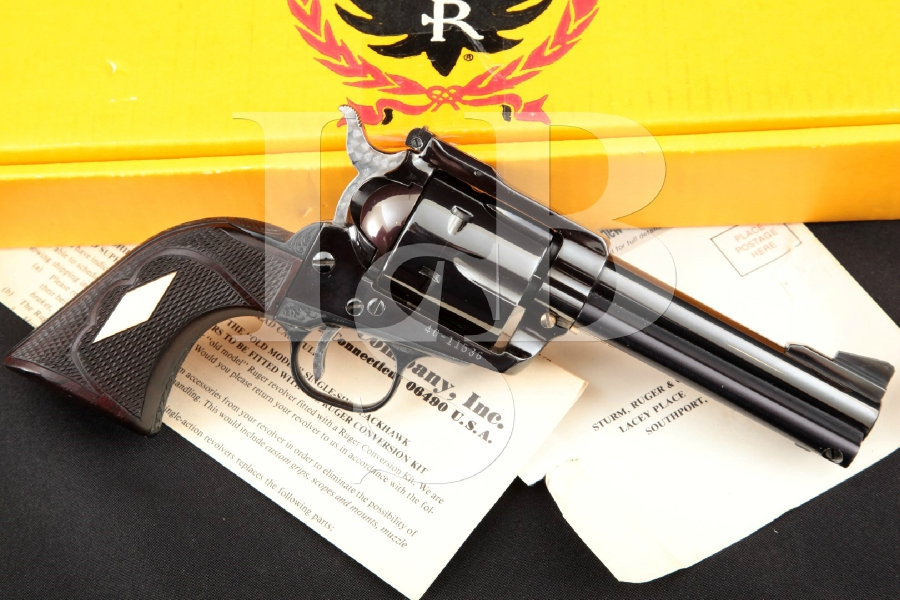 "Ruger, Custom 3-Screw Pre-Warning Old Model Blackhawk, Engraved Blue & Ported 4 5/8"" 6-Shot Single Action Revolver & Box, MFD 1970"