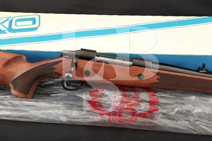 """Sako Model Finnbear Mannlicher Carbine AV, Blue 20"""" Bolt Action Rifle in Factory Box, MFD 1985-89 NIB"""