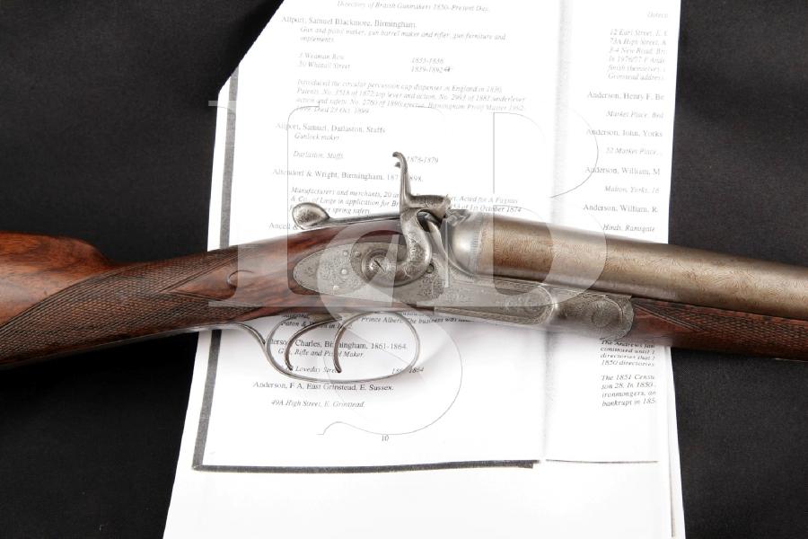 "Samuel B. Allport Exposed Hammer, Engraved Case Colored & Damascus 30"" Side by Side Shotgun & Paperwork MFD 1870s Antique"