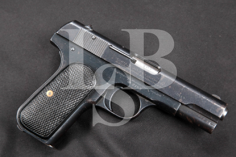 "Shanghai Police Marked Colt Model 1908 Type IV Pocket Hammerless, Blue 3 ¾"" SA Semi-Automatic Pistol, MFD 1929 C&R"