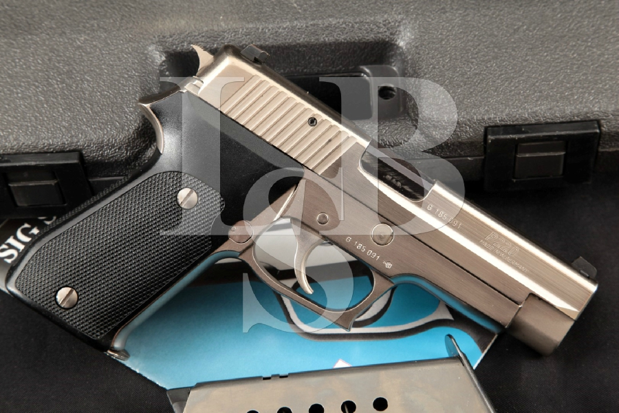 "Sig Sauer West German Model P220 P-220, Electroless Nickel 4.4"" Semi-Automatic Pistol & Factory Case, MFD 1991"