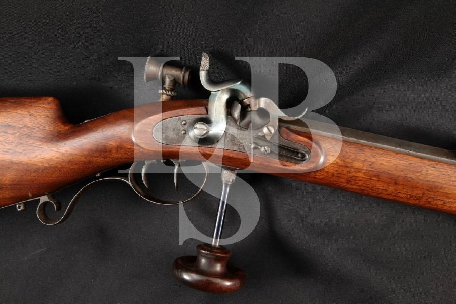 """Simson & Co. S&C Suhl Schuetzen Double Set Trigger Target Model, Blue 29 ½"""" Single Shot Percussion Rifle, MFD 1800's Antique"""