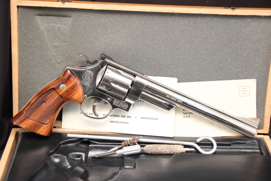 Smith & Wesson, S&W Model 25-5 -- Nickel .45 Colt Double Action Revolver Cased 8 3/8