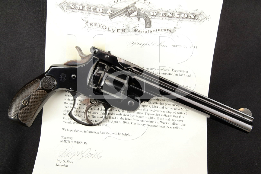 "Smith & Wesson S&W .44 DA 1st Model (Factory Refinished), Blue 6"" 6-Shot Double Action Revolver, MFD 1884 Antique"