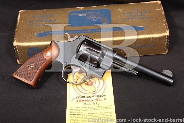 Smith & Wesson S&W .45 Hand Ejector 1950 Military Army Pre-22, Revolver & Box, 1956-57 C&R .45 ACP
