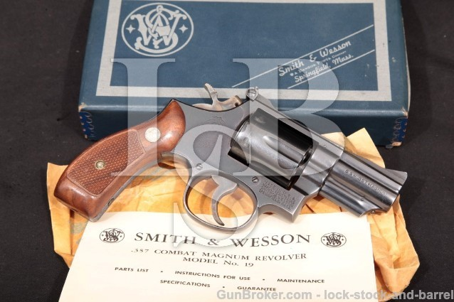 "Smith & Wesson S&W 19-3 2 1/2"" .357 Combat Magnum Blue Pinned Double Action Revolver & Box 1968 C&R"