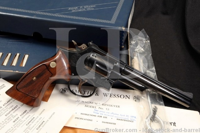 "Smith & Wesson S&W 53-2 .22 Remington Jet Magnum 6"" Centerfire Double Action Revolver - Box & More"