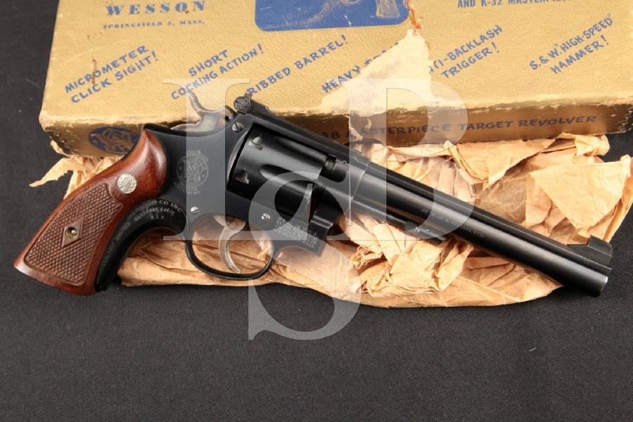 "Smith & Wesson S&W K-38 K38 Target Masterpiece ""Pre-Model 14, Blue Pinned 6"" SA/DA Double Action Revolver & Box, MFD 1950 C&R"