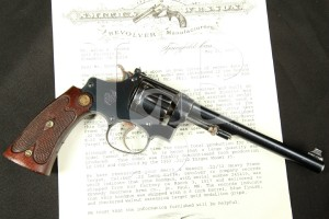 Smith & Wesson S&W Model 22 32 Heavy Frame Target Bekeart Model, Blue 6 Double Action Revolver & Factory Letter, 1917 C&R .22 Long Rifle