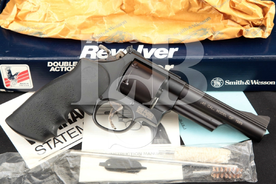 "Smith & Wesson S&W Model 25-7, The Model of 1989, Glass Bead Blue 5"" 6-Shot, Double Action Revolver & Box, MFD 1989"