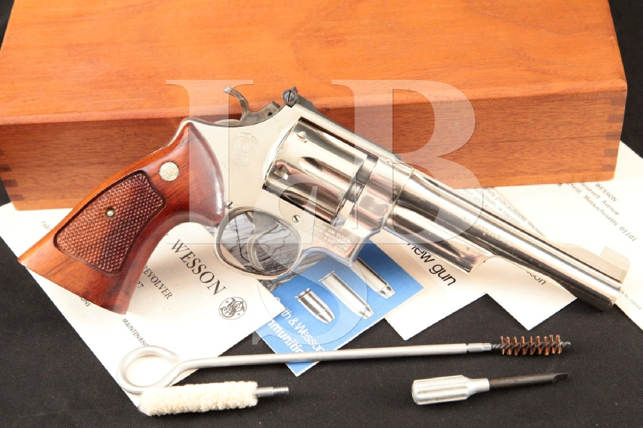 "Smith & Wesson S&W Model 27-2, The .357 Magnum Square Butt N-Frame, Nickel Pinned 6"" 6-Shot Double Action Revolver & Case, MFD 1979"