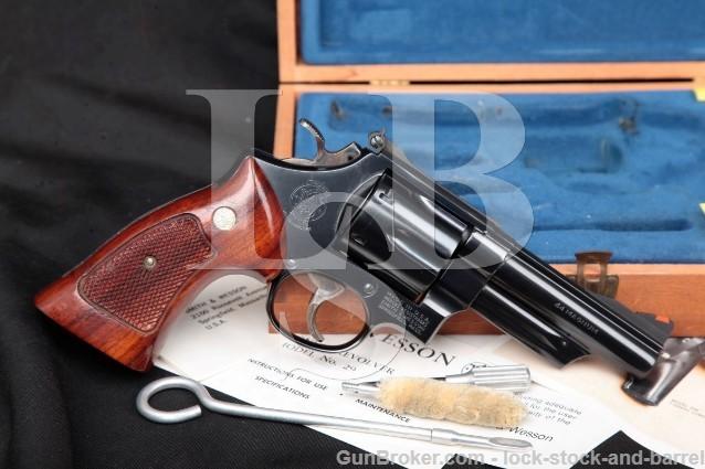"Smith & Wesson S&W Model 29-2 .44 Magnum, Blue 4"" SA/DA Revolver & Wood Presentation Case 1977-78"