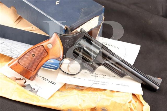 """Smith & Wesson S&W Model 29-2 6"""" .44 Magnum SA/DA Double Action Revolver & Box, MFD 1980"""