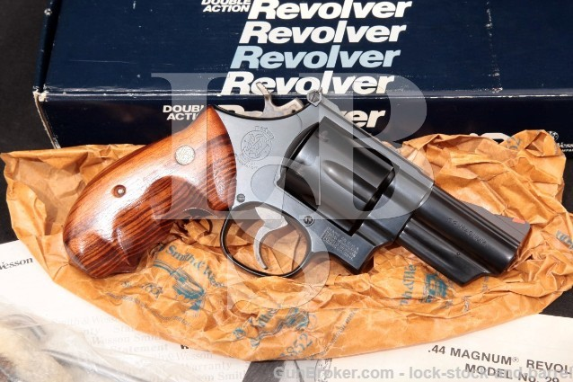 "Smith & Wesson S&W Model 29-3 Lew Horton, 101224 .44 Mag Blue 3"" Double Action Revolver & Box 1985"
