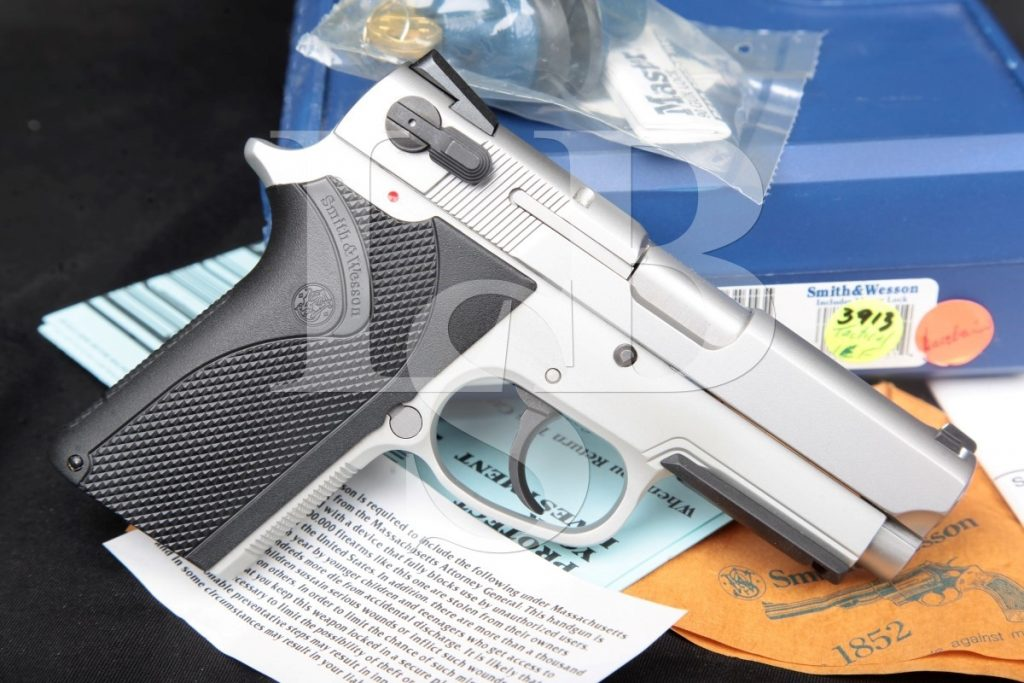 Smith & Wesson S&W Model 3913tsw 9 Tactical, Stainless & Alloy SA DA Semi-Automatic Pistol, Box & Paperwork, MFD Modern 9mm Luger