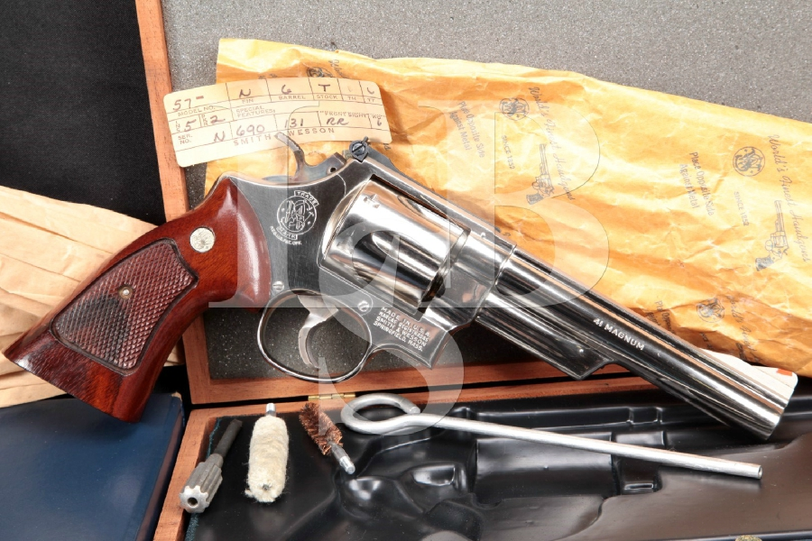 "Smith & Wesson S&W Model 57 .41 Magnum Target, Nickel 5 7/8"" Double Action Revolver & Presentation Case, 1979"