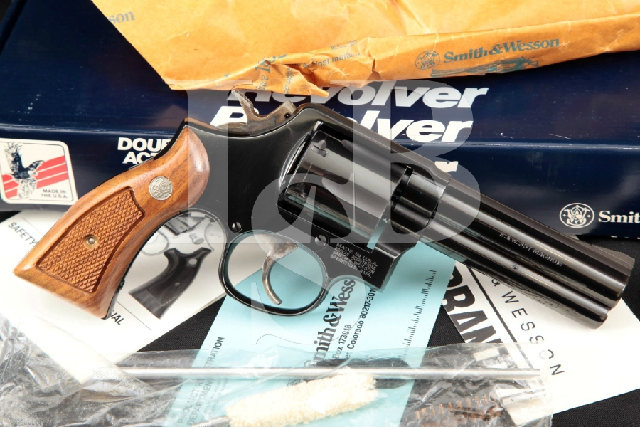 """Smith & Wesson S&W Model 581-3, Distinguished Service Magnum, Blue 4"""" Double Action Revolver & Box, MFD 1988"""