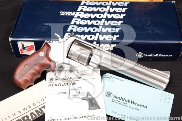 "Smith & Wesson S&W Model 610 10mm, No Dash, 103576 Stainless 6 1/2"" Double Action Revolver & Box"