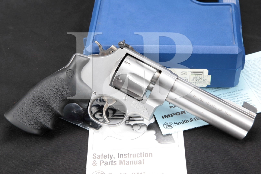 """Smith & Wesson S&W Model 625-4, The Model of 1989 Round Butt, Stainless 5"""" .45 ACP Double Action Revolver & Case, MFD 1995"""