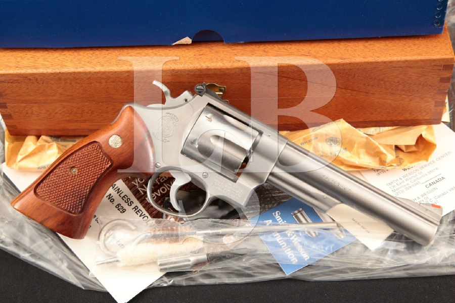 "Smith & Wesson S&W Model 629, 'The .44 Magnum', Mint 1st Year Stainless Steel 6"" 6-Shot Double Action Revolver & Case, MFD 1979"