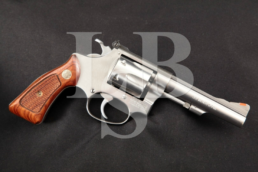 """Smith & Wesson S&W Model 651-1, The .22 M.R.F. Target Kit Gun, Stainless Steel 4"""" 6-Shot WMRF Double Action DA/SA Revolver, MFD 1992"""