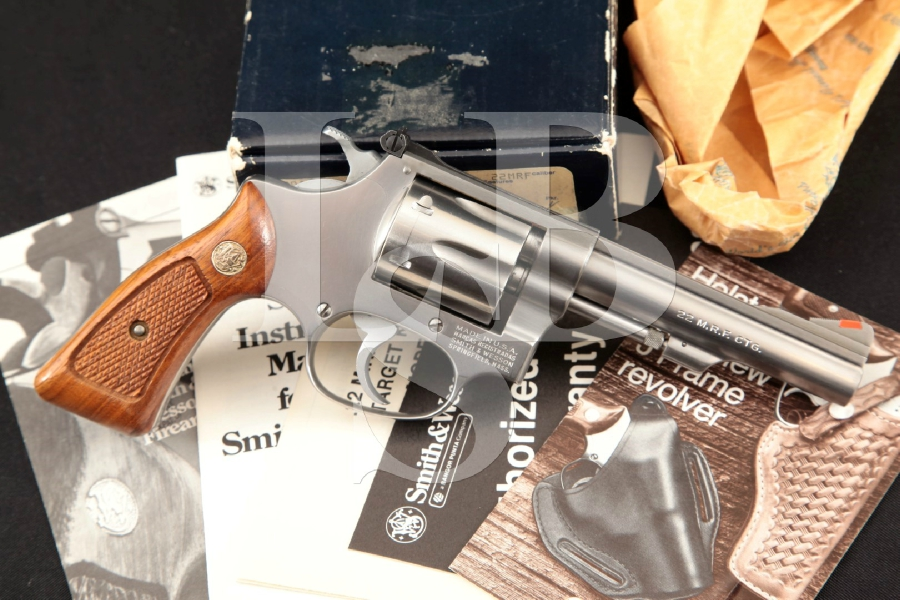 "Smith & Wesson S&W Model 651, The .22 M.R.F. Target Kit Gun, Stainless Steel 4"" 6-Shot DA/SA Double Action Revolver & Box MFD 1984"