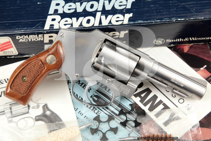 """Smith & Wesson S&W Model 940, 9mm Centennial, Stainless 3"""" Double Action Only DAO Revolver & Box, MFD 1991-98"""
