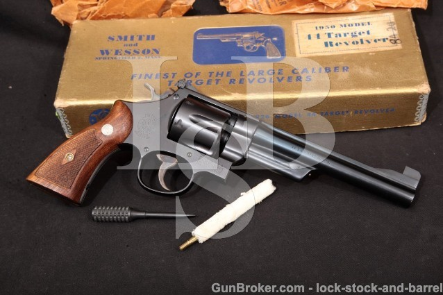"Smith & Wesson S&W Model of 1950 Target Pre-24 C&R Blue 6 1/2"" Revolver & Box 1954-1955 .44 Special"