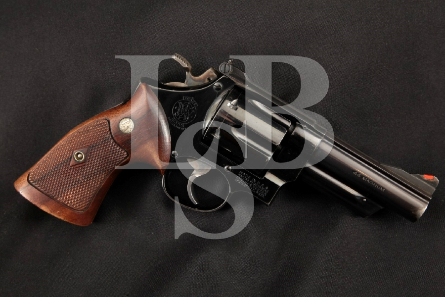 Smith & Wesson S&W Pre-Model 29, Scarce 2nd Year + Coke Bottle Grips Pinned Blue 4 6-Shot DA Double Action Revolver, MFD 1957 C&R