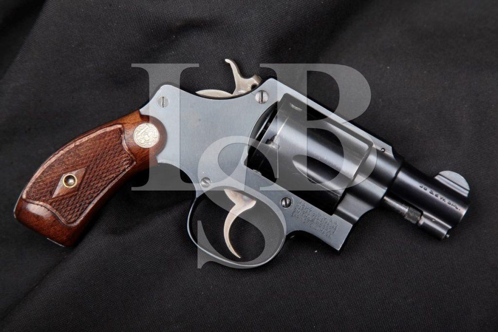 "Smith & Wesson S&W Pre-Model 36, Blue 2"" Pinned Barrel 5-Screw Flat-Latch 5-Shot SA/DA Double Action Revolver, MFD 1950 C&R .38 Special"
