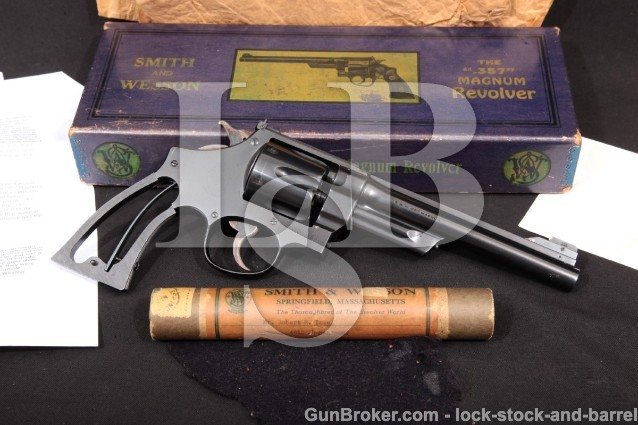"Smith & Wesson S&W The .357 Registered Magnum 1937 6 1/2"" Blued DA Revolver, Certificate, Tube & Box"