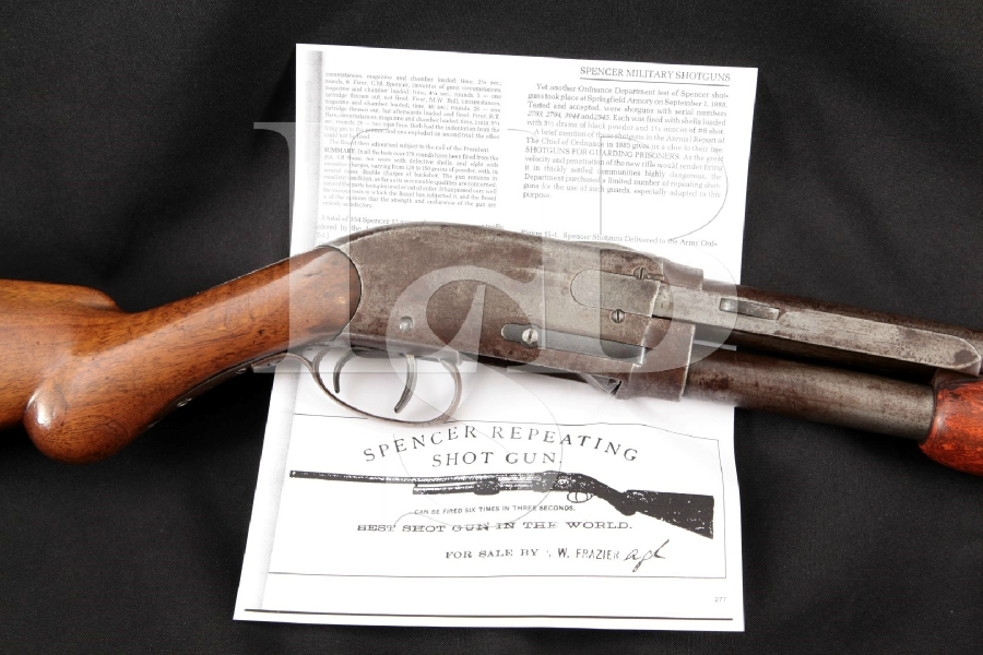 "Spencer Arms Model 1886 Dual Trigger Repeating Model, 1 of 10 Accepted by Army Ordnance, Blue 24"" Pump / Slide Action Shotgun, MFD 1887 Antique"
