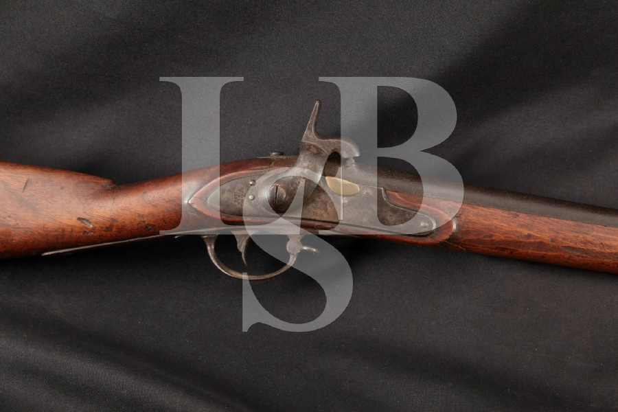 """Springfield 1835 / 1840 Conversion Model, U.S. Marked & Named Stock, Brown 42"""" Single Shot Percussion Rifle, MFD 1838 Antique"""