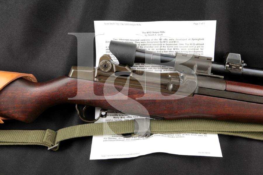 "Springfield Armory M1D Garand Sniper, M84 Scope & M2 Flash Hider, Parkerized 24"" Nonimport Semi Automatic Rifle, MFD 1945 C&R"
