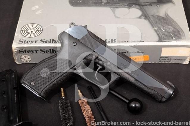 """Steyr GB, Blue & Black 5 1/4"""" SA/DA Gas Operated Semi-Auto Pistol, Box & More, 1984 9mm Luger"""