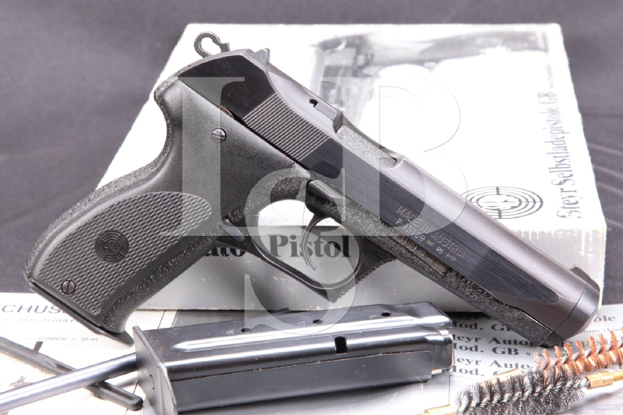 "Steyr, Gun South Import Model GB M-GB Gas-Delayed Blowback, Polished & Crinkle Blued 5 ¼"" DA/SA Semi-Automatic Pistol, Box & 2 Magazines"