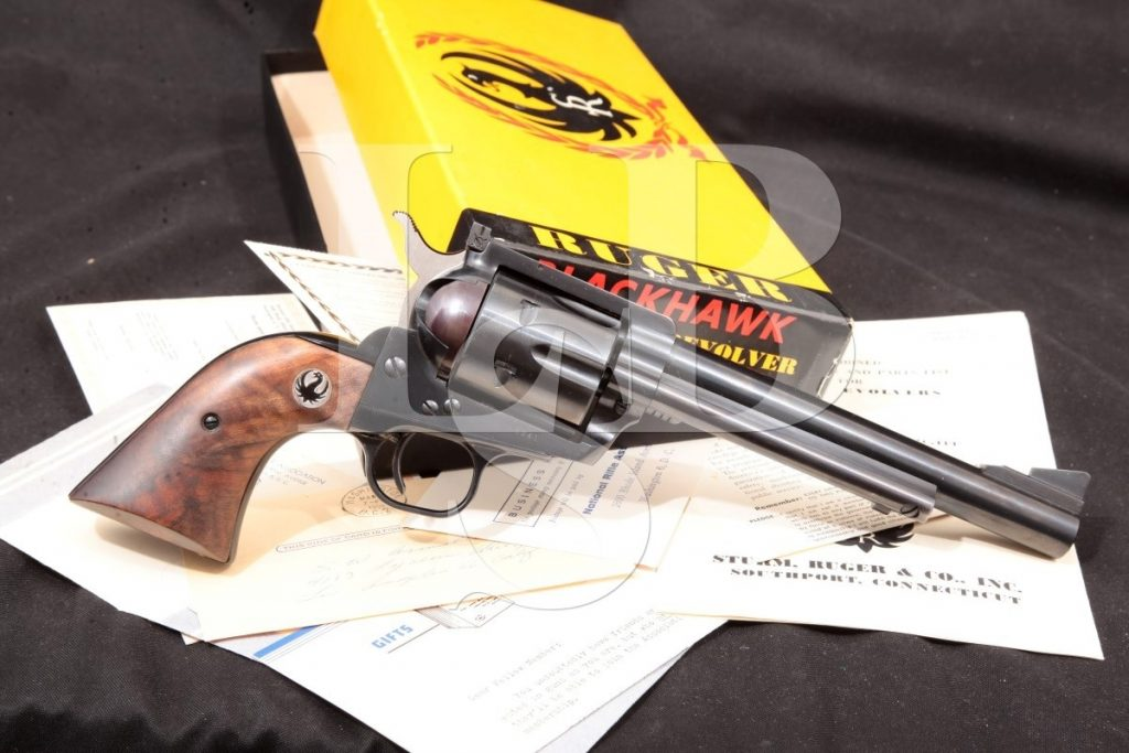"Sturm, Ruger & Co. Old Model Blackhawk Three-Screw Pre-Warning Four Digit, Blue & Black 6 1/2"" Single Action Revolver & Box, MFD 1958 C&R .44 Mag."