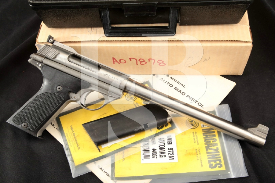 T.D.E. Trade Deed Estates / OMC Model 280 Auto Mag, Stainless Steel 10 1/2 Semi-Automatic Pistol, Case & More MFD 1970's C&R