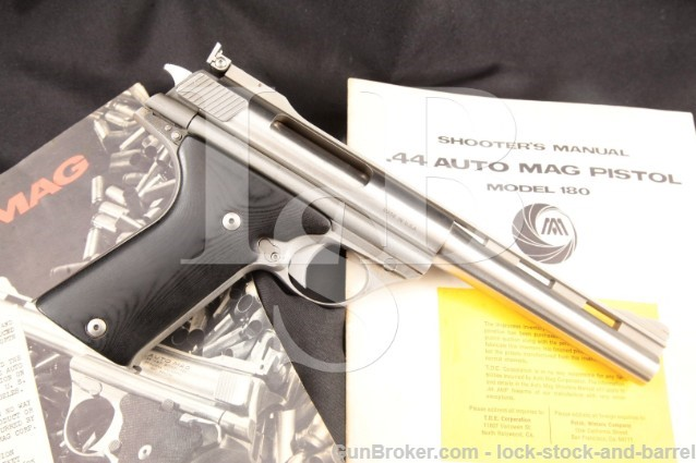 "TDE North Hollywood AutoMag Model 180 6.5"" .44 AMP Stainless Auto Mag Semi Automatic Pistol, C&R"